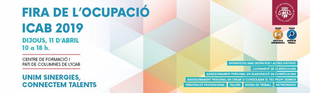 Fira de l'Ocupació ICAB 2019. 11 d'abril. De 10 a 18h